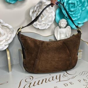 Coach brown suede and leather hobo bag